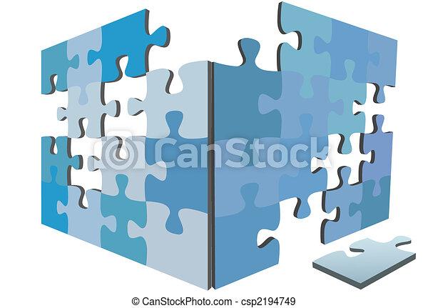 boîte, puzzle, solution, igsaw, morceaux, morceau, côtés, 3d - csp2194749