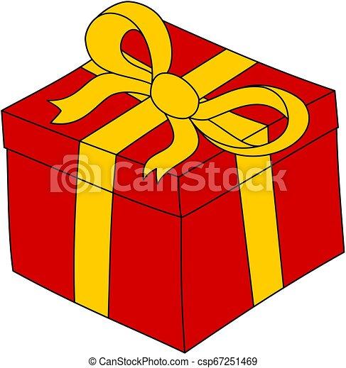 Boite Ribbon Clipart Cadeau Jaune Rouges Dessin Anime Present Boite Ribbon Clipart Cadeau Jaune Main Canstock