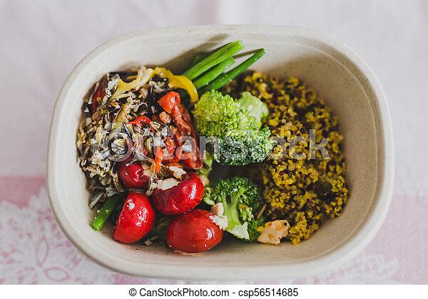 boîte, salade, bureau, sain, légumes, déjeuner, mized - csp56514685