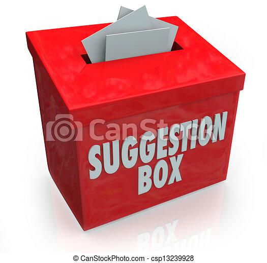 boîte, suggestion, idées, comments, soumission - csp13239928