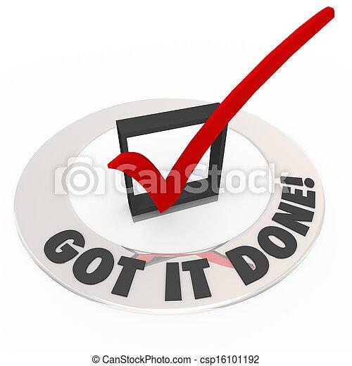boîte, tâche, complet, fini, il, marque, métier, fait, obtenu, chèque - csp16101192