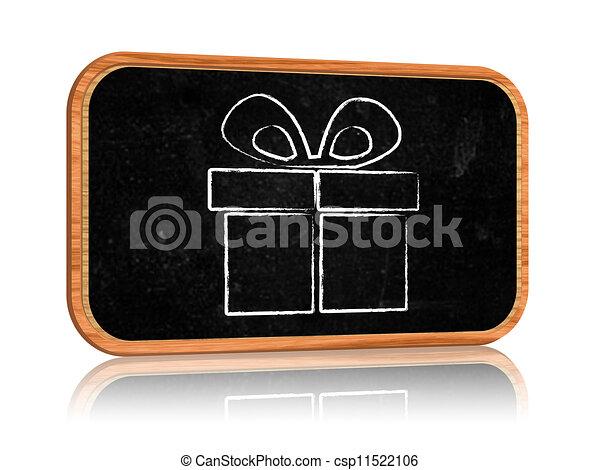 boîte, tableau noir, bannière, présent - csp11522106