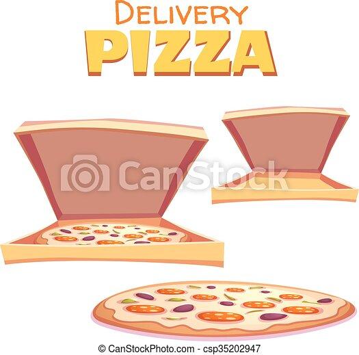 boîte, texte, illustration, chaud, vecteur, pizza - csp35202947