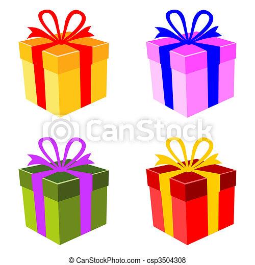 boîte, vecteur, ensemble, coloré, cadeau - csp3504308