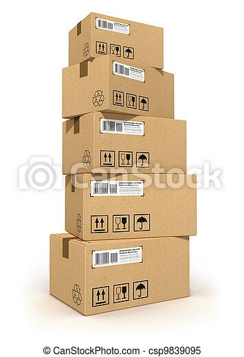 boîtes carton, pile - csp9839095