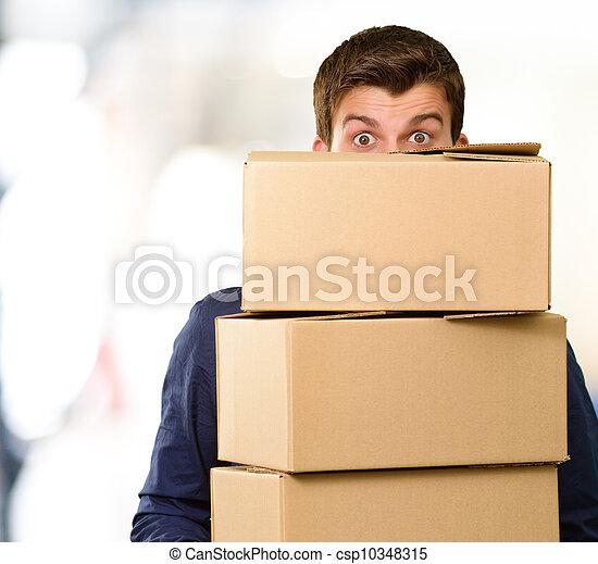 boîtes, carton, tenue, homme - csp10348315