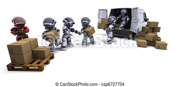 boîtes, chargement, fourgon, robot, expédition - csp6727704