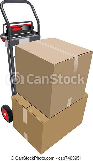 boîtes, palette, truck., vecteur, main - csp7403951