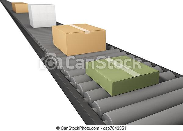 boîtes, tapis roulant - csp7043351