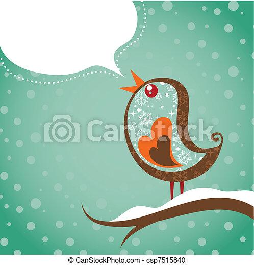 boże narodzenie, ptak, tło, retro - csp7515840
