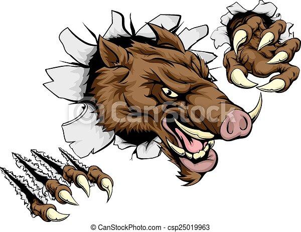 Boar mascot breaking through wall - csp25019963