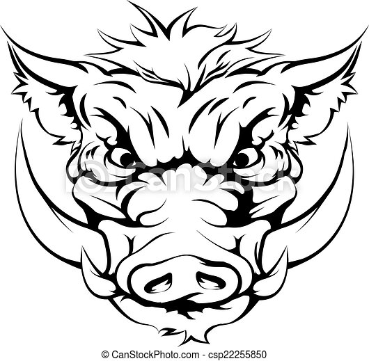 Boar mascot face. Drawing of a boar animal character or ...