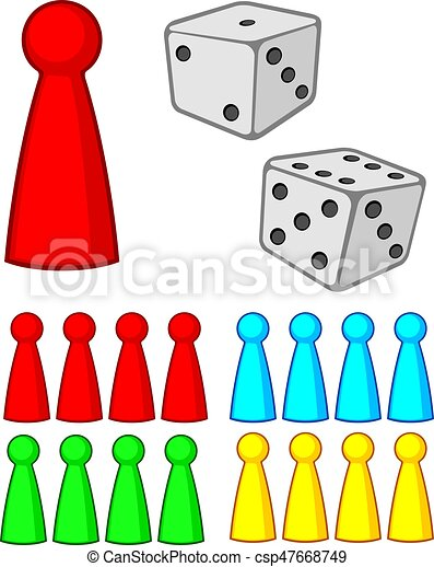 Board Game Figures Pieces With Dices Vector Illustration