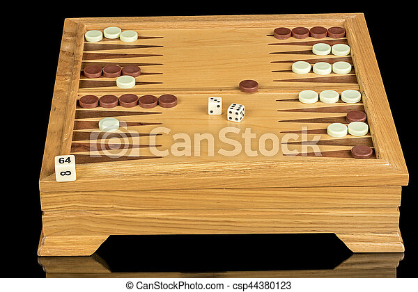 Board game of Backgammon with dice - csp44380123