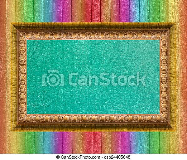 Board Green Gold Frame Wood Background