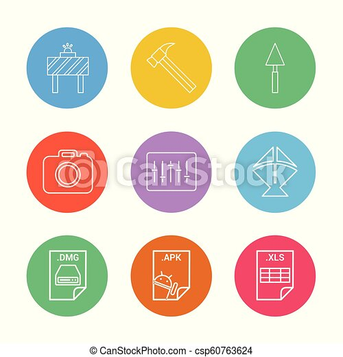 Board , hammer , camera , apple dmg file , spade , equilizer , kite , excel  file , apk android file , 9 eps icons set vector
