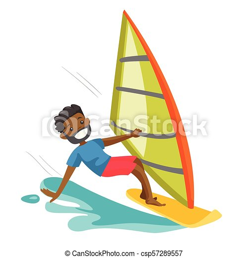 Board Homme Noir Depecher Planche Voile Ete Sea Style De Vie Activites Heureux Concept Nautisme Eau Isole Canstock