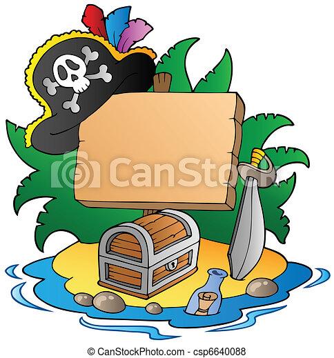 Board on pirate island - csp6640088
