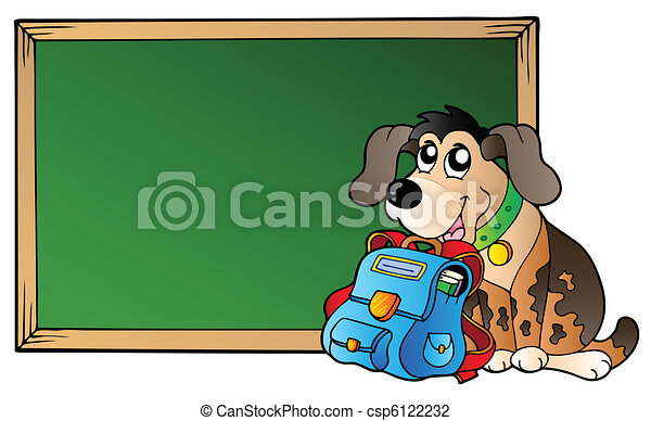 Board with dog and school bag - csp6122232