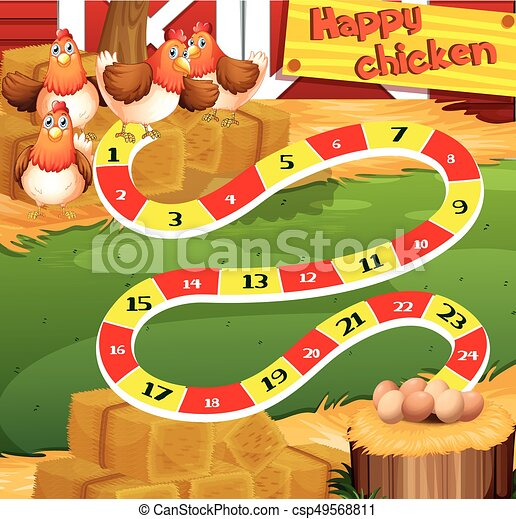 Boardgame Template With Chicken In The Farm Illustration