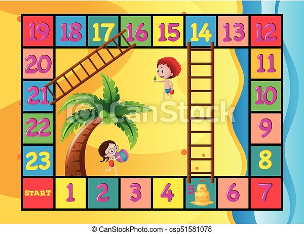 boardgame template with kids on the beach illustration