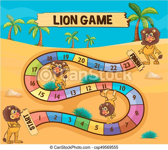 boardgame template with lions in desert illustration
