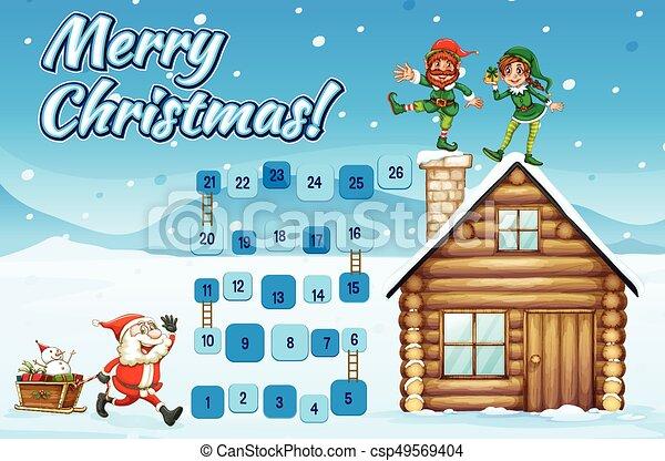 Boardgame Template Wtih Santa And Elves Illustration