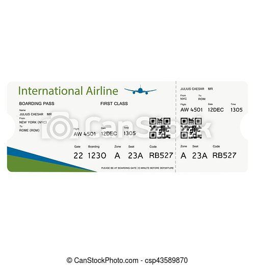 Boarding Pass Ticket Vector Illustration Airline Boarding Pass
