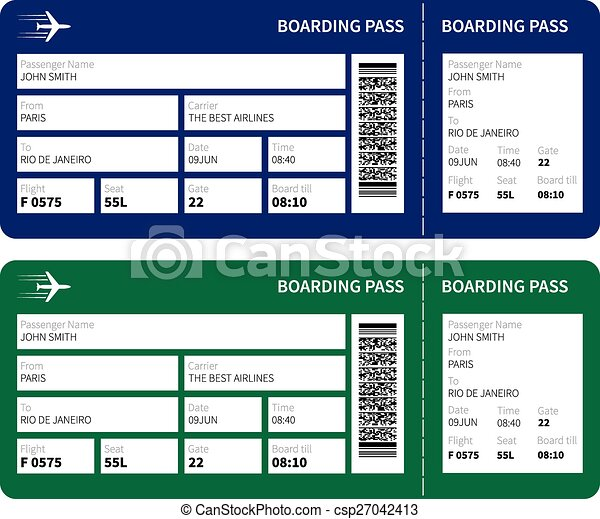 Airline Boarding Pass Ticket For Traveling By Plane Vector
