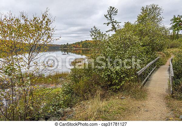 Boardwalk Next to a Lake in Autumn - Ontario, Canada - csp31781127