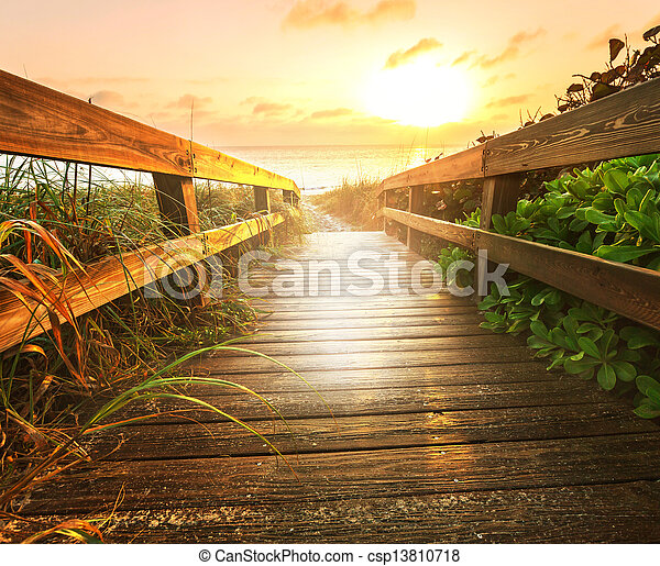 Boardwalk on beach - csp13810718