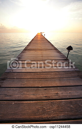 Boardwalk on beach - csp11244458