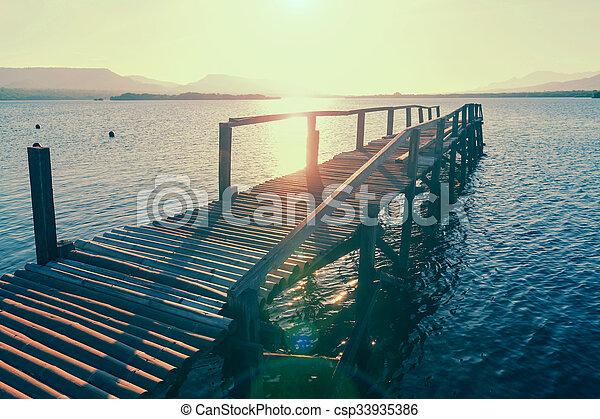 Boardwalk on the beach - csp33935386