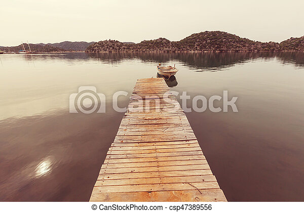 Boardwalk on the beach - csp47389556