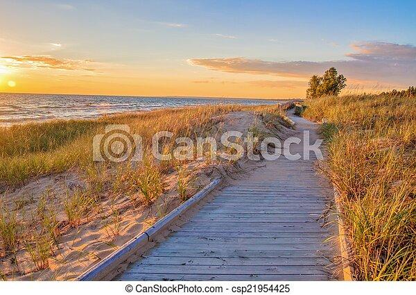 Boardwalk On The Beach - csp21954425