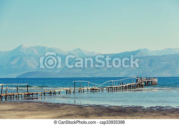 Boardwalk on the beach - csp33935398