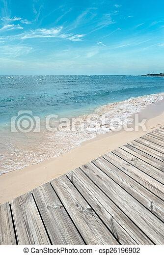 Boardwalk on the beach - csp26196902