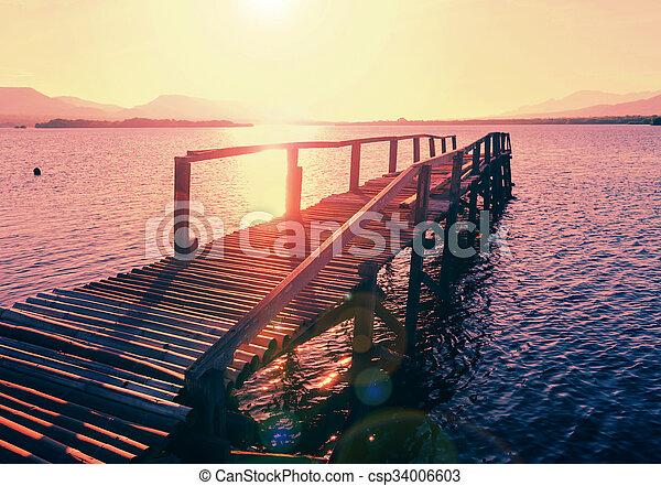 Boardwalk on the beach - csp34006603