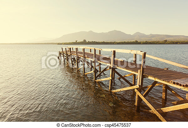 Boardwalk on the beach - csp45475537