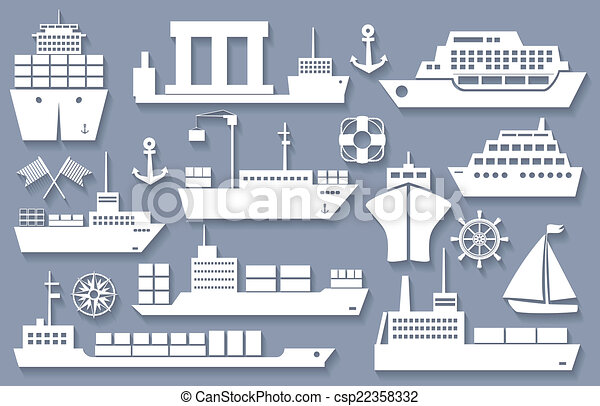 boat and ship icons - csp22358332