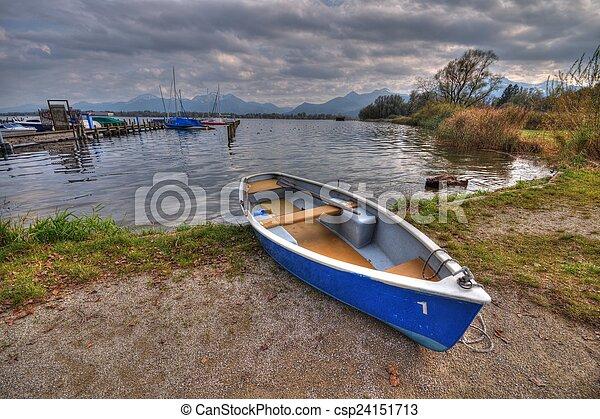 Boat at lake Chiemsee in Germany - csp24151713