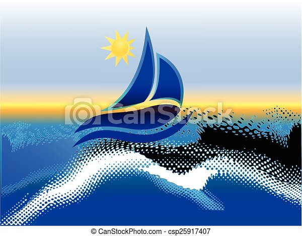 Boat beach and sun background - csp25917407