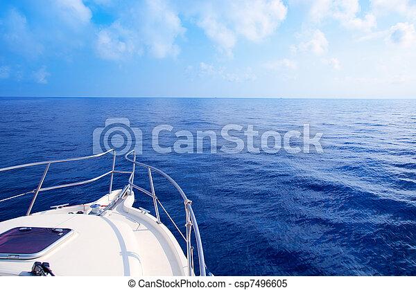 Boat bow sailing in blue Mediterranean sea - csp7496605