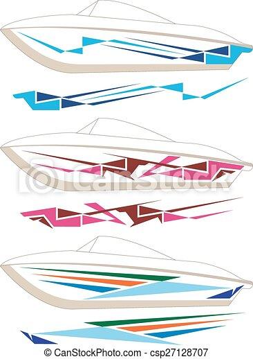 Boat Graphics Stripe Vinyl Ready Vector Art