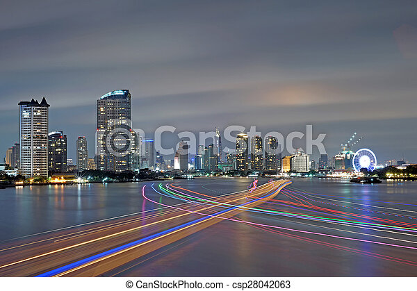 boat light trails  - csp28042063