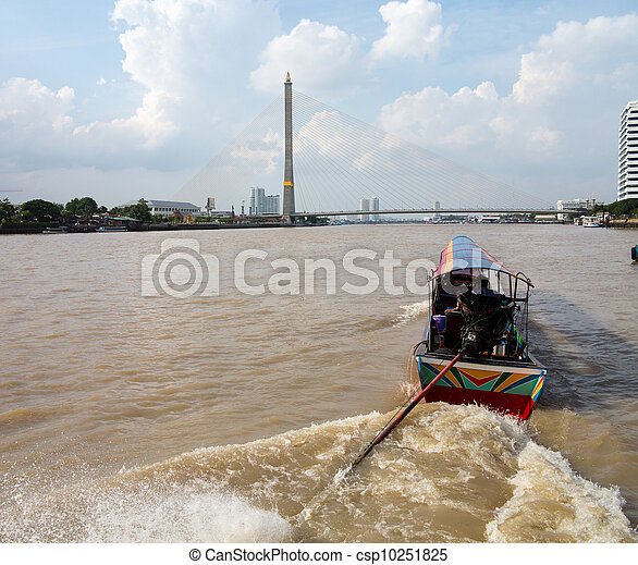 Boat on Chao Phraya river Rama Bridge - csp10251825