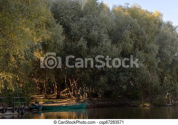 Boat on Danube river - csp67283571