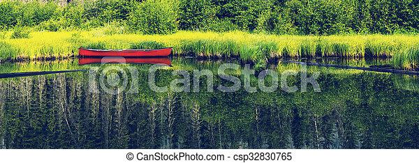 Boat on lake - csp32830765