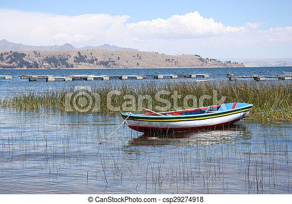 Boat on Lake Titicaca - csp29274918