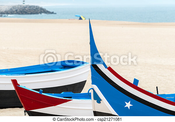 Boat on the beach, Nazare (Portugal) - csp21271081